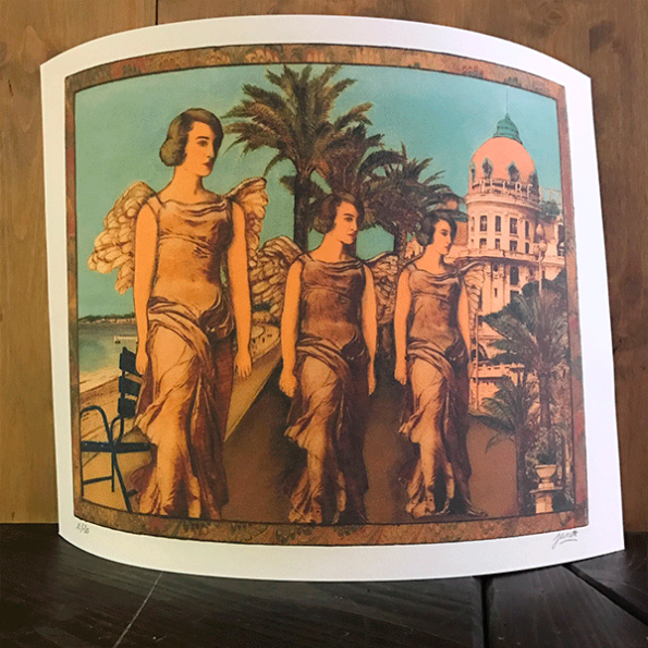 """Lithographie """"Promenade des Anglais"""" by Jane Cros"""